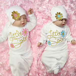 d89bc5e867ff4 Newborn Baby Girl Little Sister Flower Sleeping Gown Swaddle Coming ...