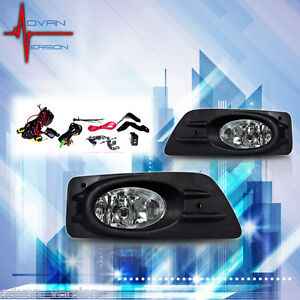 06 07 Honda Accord Sedan Fog Lights Clear Lens 4DR Font Bumper Lamps FULL KIT