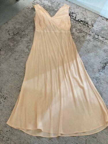 VINTAGE Original 1930s Peach Silk Slip Dress Good