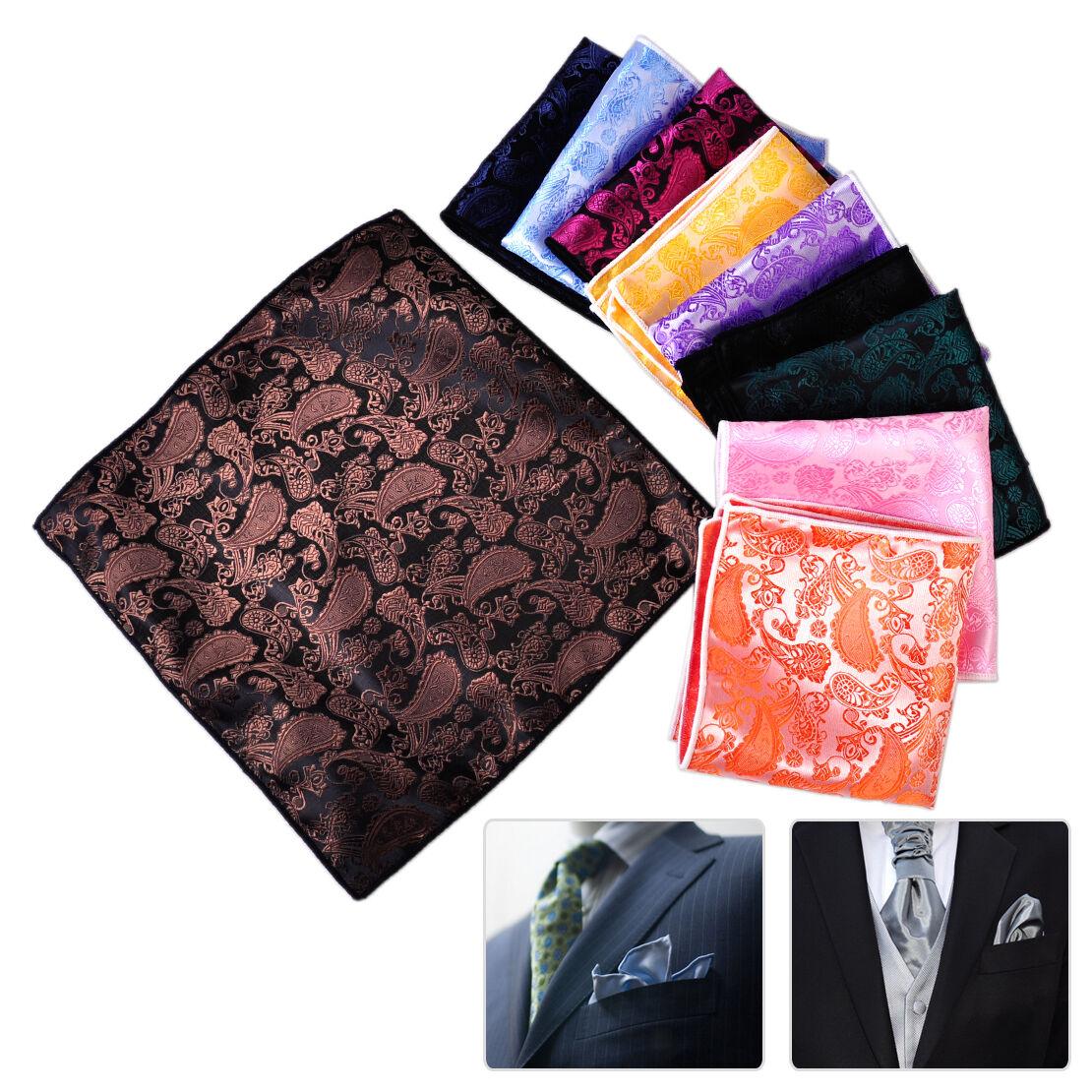 10pc Men Paisley Floral Handkerchief Square Pocket Jacquard Hanky Hankie Wedding