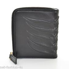 ALEXANDER McQUEEN MEN'S RIBCAGE BLACK LEATHER ZIP WALLET BNWT