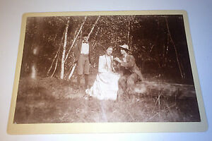 Antique-Outdoor-Southern-Young-Man-Courting-Woman-Adorable-Boy-Cabinet-Photo
