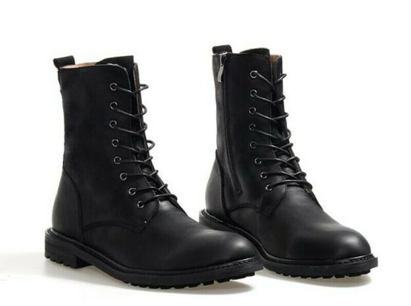 Mens High Top Retro Cross Strap Genuine Leather Tooling Desert Mid Calf Boots