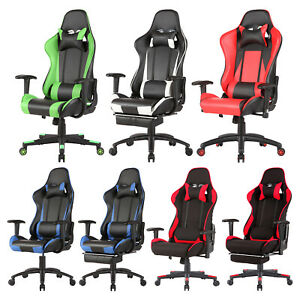 Rennstuhl Schreibtischstuhl Gaming Drehstuhl Bürostuhl Chefsessel Sportsitz Blau