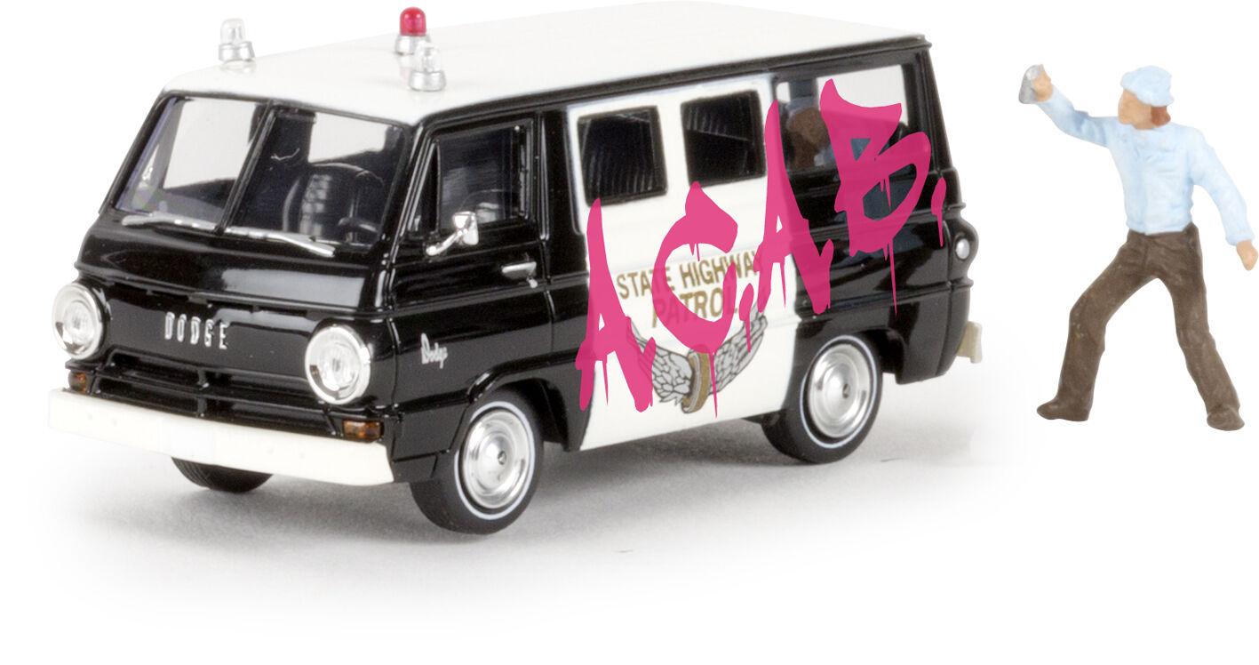 Dodge A 100 BUS SHERIFF   (Graffiti) TD, H0 Car Model 1 87, Brekina