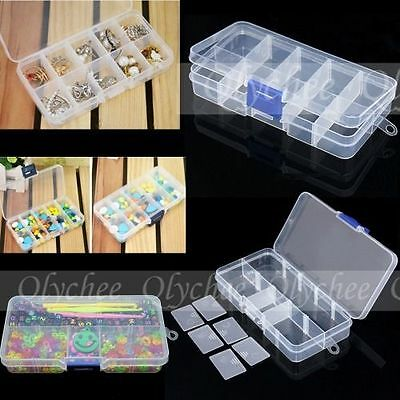 1X Plastic Adjustable Organizer Storage Box for Jewelry Beads Clip Free Shipping