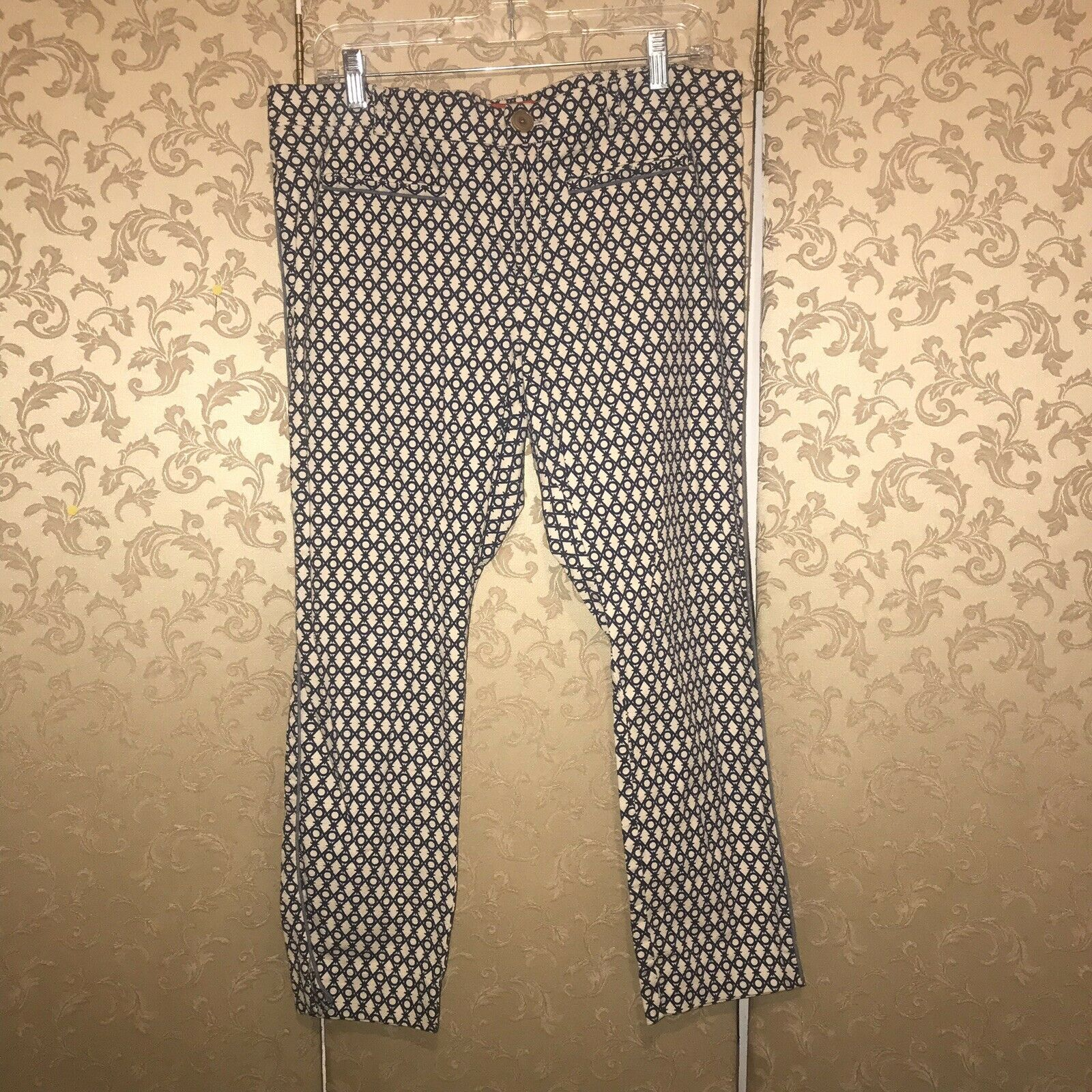 Anthropologie Cartonnier bluee Beige Multi-color Geometric CHARLIE Trousers 12