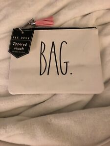 Rae-Dunn-pouch-BAG-7-5-x-5-5-white-with-black-LL-letters-NWT-pink-tassel