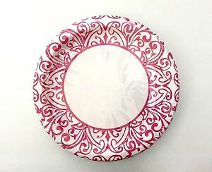 Image is loading Lunch-Dinner-Paper-Plates-Mosaic-Damask-Print-Bright-  sc 1 st  eBay & Lunch Dinner Paper Plates- Mosaic Damask Print Bright Pink u0026 White ...