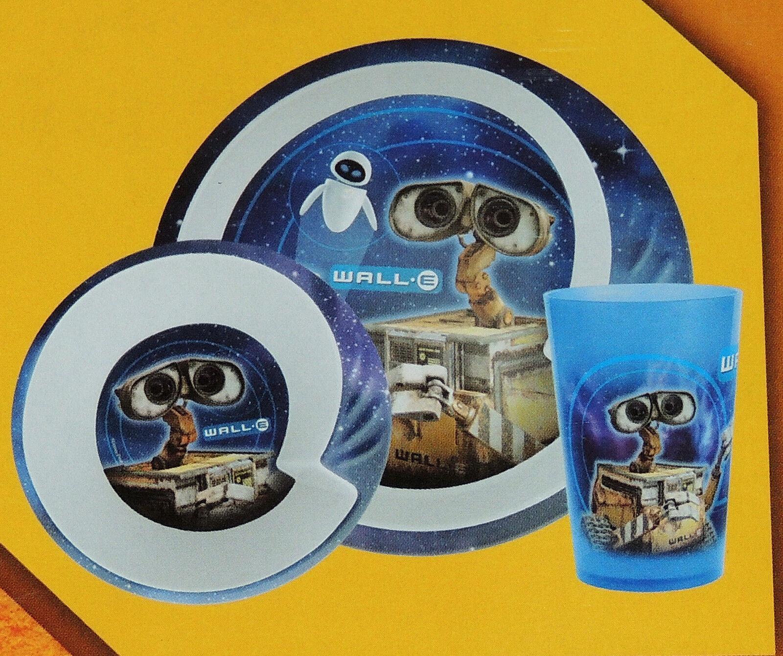 DISNEY  PIXAR WALL E DINNERWARE SET PLATE CUP AND FORK