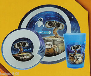 Image is loading NEW-WALL-E-DISNEY-PIXAR-3pcs-CHILDREN-039- & NEW~WALL.E~ DISNEY PIXAR 3pcs CHILDRENu0027S MELAMINE DINNER PLATE SOLD ...