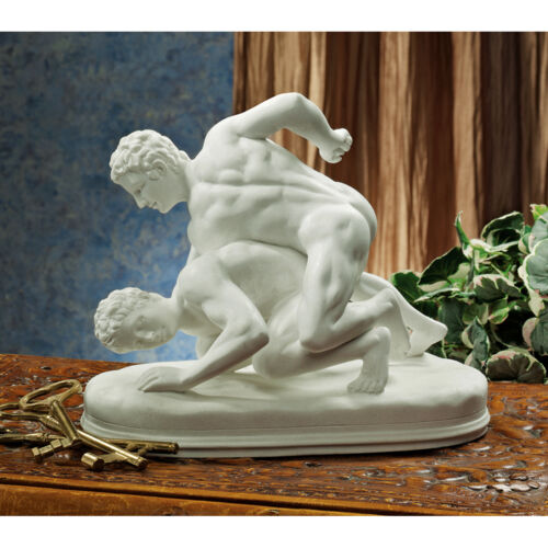 Ancient Greek Olympic Wrestlers Sculpture Bonded Natural Marble Statue Replica