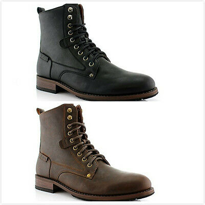 New Men's Lace Up Zipper Up Ankle High Casual Work Stylish Flat Boots Shoes