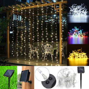 Image Is Loading 3x3m 300 LED Solar Fairy String Curtain Lights
