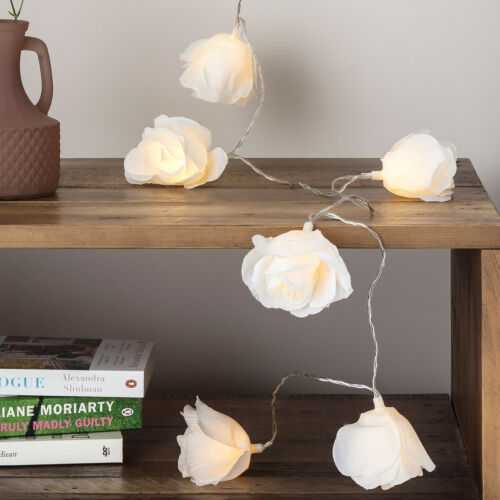 20 LED Cream Rose Flower LED Decorative Indoor Bedroom Fairy String Lights