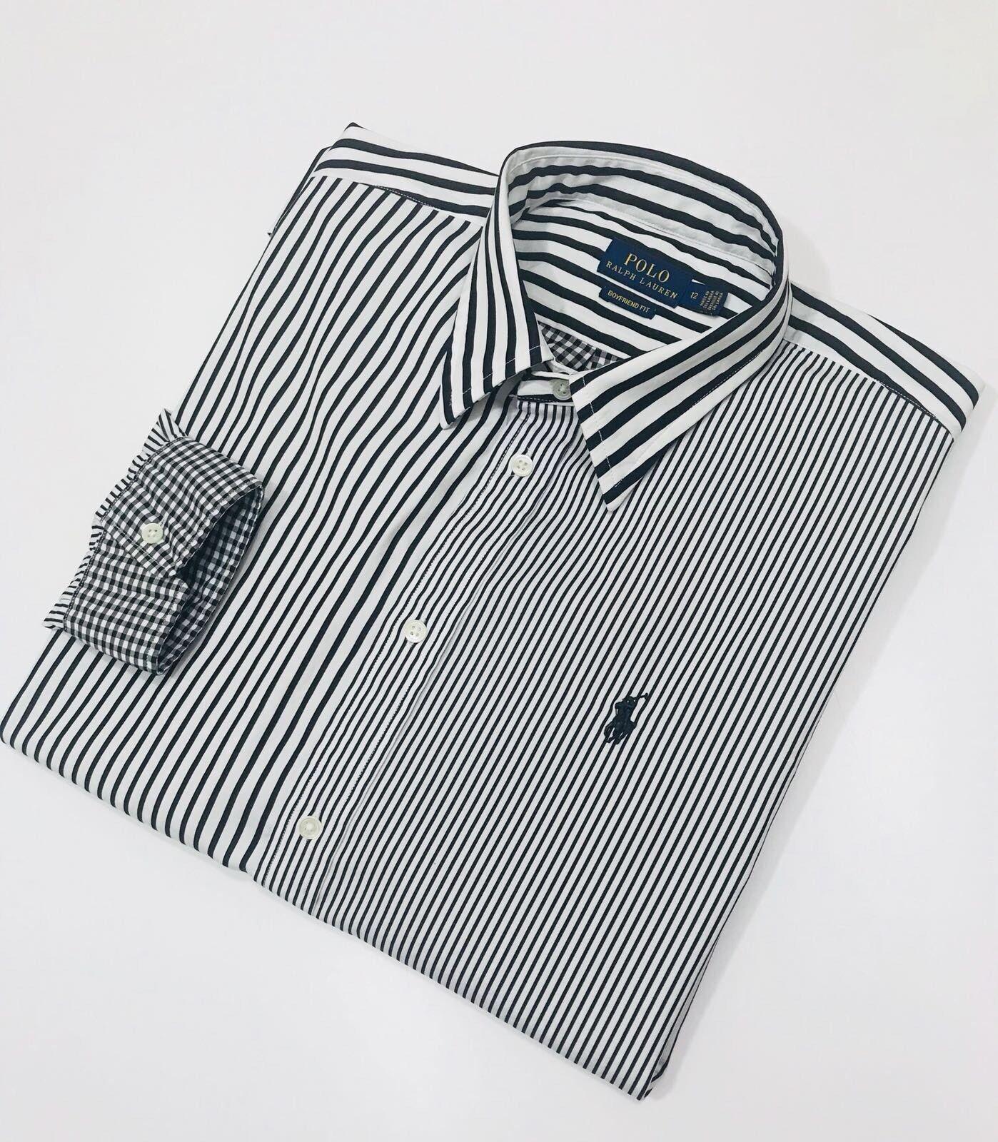 Ralph Lauren a righe Cotone Cotone Cotone Boyfriend camicia (Taglia 12) RRP 2526ed