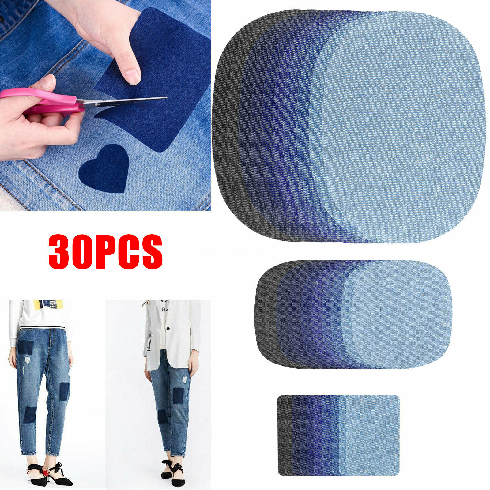24pcs 5 Color DIY Iron on Denim Fabric Patches for Clothing Jeans Repair Kit lo