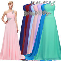 ONE SHOULDER Long Prom Dresses Bridesmaid Wedding Formal Evening Party Ball Gown