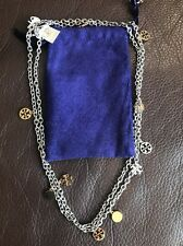 TORY BURCH LOGO CHARM ROSARY SILVER AND GOLD PLATED NECKLACE NWT + POUCH