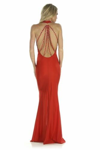 Rücken Usa I Gr Made Strass 36 38 Abendkleid Neckholder Handarbeit Sexy Mit Rot g7xq04Pw6
