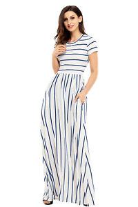 low priced f63e3 5134d Dettagli su abito vestito lungo a righe semplice ed elegante maxi dress