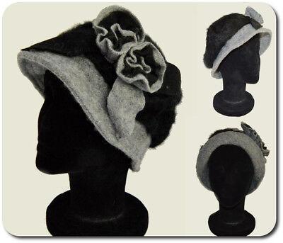 Damen Wollhut Wollmütze Mütze Winterhut mit Brosche Blumen Farbauswahl Hut Cap