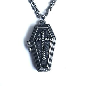 Gothic-Horror-Punk-Goth-Vampire-Sabbath-Cross-Coffin-Locket-Pendent-Necklace