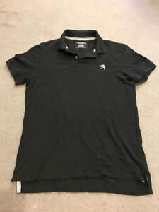 Express Men S Fitted Lion Logo Pique Polo Shirt Charcoal Size M Ebay