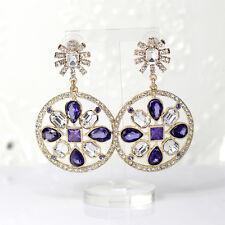 Boucles d`Oreilles Clous Doré Gros Rond Fleur Trefle Violet Vintage Class AA 11