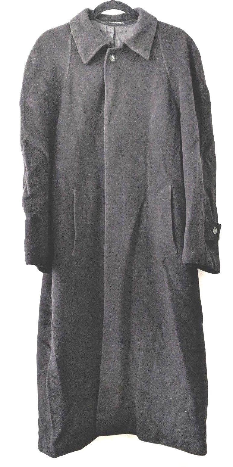 Saks Fifth Avenue Men Coat Cashmere Wool Italian Dark grau Hidden Front Buttons