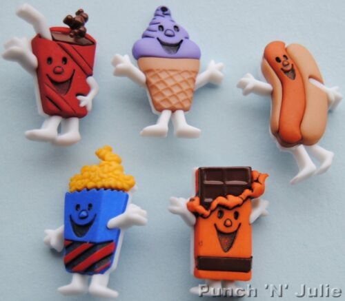 MOVIE MUNCHIES Cinema Food Popcorn Ice Cream Hot Dog Dress It Up Craft Buttons