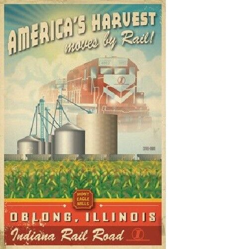 """Signed. Limited Edition /""""America/'s Harvest Moves by Rail/"""" train poster print"""