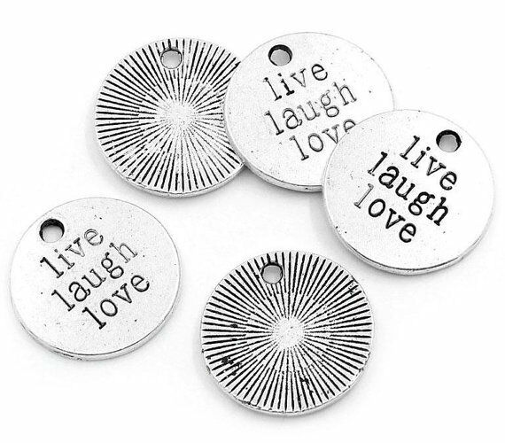 Word Charms Pendants LIVE LAUGH LOVE Charms Antiqued Silver 20mm 5 pieces