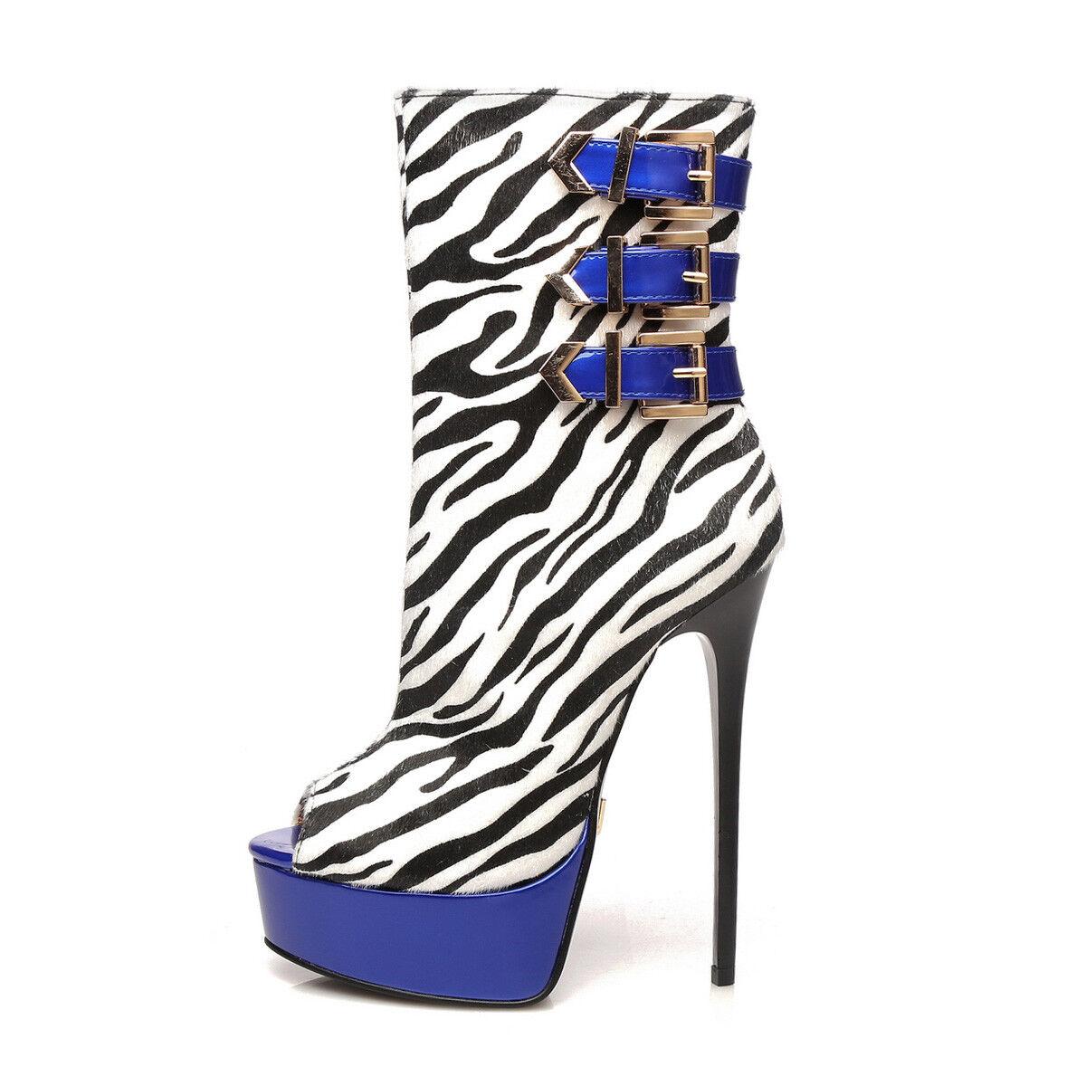 Miglior prezzo Giaro MARUCKLE peep-toe peep-toe peep-toe stivali with Zebra pattern  Garanzia di vestibilità al 100%