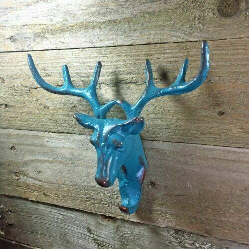 Blue Cast Iron Stag Head Single Coat Hook Wall Mounted Deer Antler Accessory