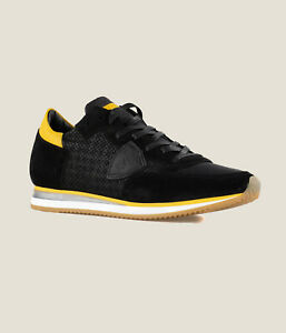 SNEAKERS-UOMO-PHILIPPE-MODEL-NERA-TRLU-PS47-PERFORE-NOIR-MADE-IN-ITALY