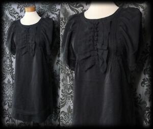 Gothic-Black-Frill-Bib-SUSPICION-Angel-Sleeve-Tea-Dress-8-10-Victorian-Vintage