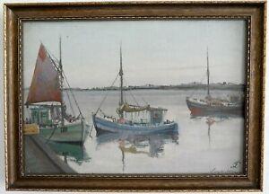 Morgenstimmung-in-Fishing-Port-Impressionist-1-half-20-Jh-Signed