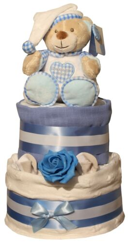 Deluxe White Stars Nappy Cake Blue or Pink Design Cellophane Wrapped Baby Gift