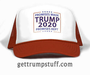 Trump 2020 Promises Made Promises Kept on Trucker Hat Cap Curved Brim