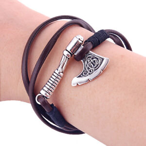 1PC-Vintage-Silver-Viking-Slavic-Axe-Handmade-Wrap-Leather-Rope-Bracelet-Unisex