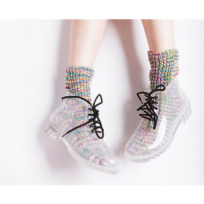 transparent Rubber Women's rain shoes Lace-Up Ankle boots clear galoshes US5-US9