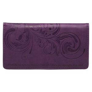 CHECKBOOK-COVER-I-Can-Do-Everything-Through-Him-PURPLE-FAUX-LEATHER-Free-Ship