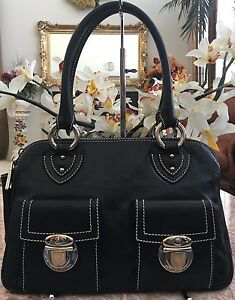 90955c02919 Image is loading MARC-JACOBS-Black-Pebbled-Leather-Silver-Tone-Double-