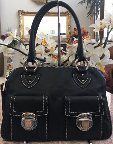 Silver Black Marc Blake Strap Pebbled Tone Satchel Double Jacobs Handbag Leather sQCrxhtd