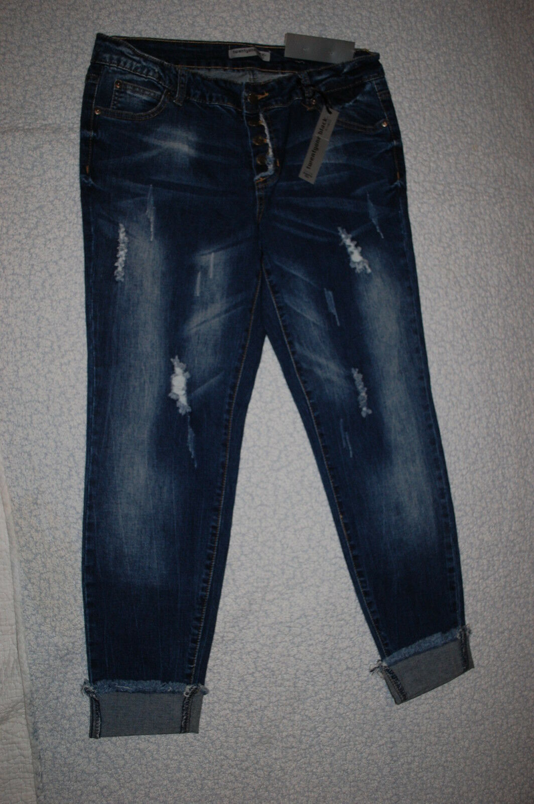 Jr Womens DK blueE SKINNY JEANS Low Rise BUTTON FLY Raw Hem DISTRESSED Hege 13-14