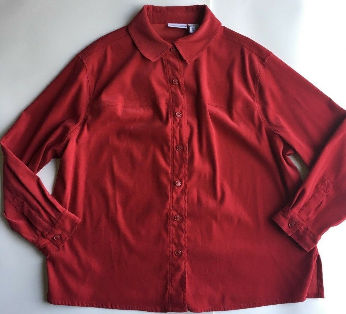 Croft & Barrow Women's Blouse Red Button-Down Long Sleeve Top Plus Size 2X