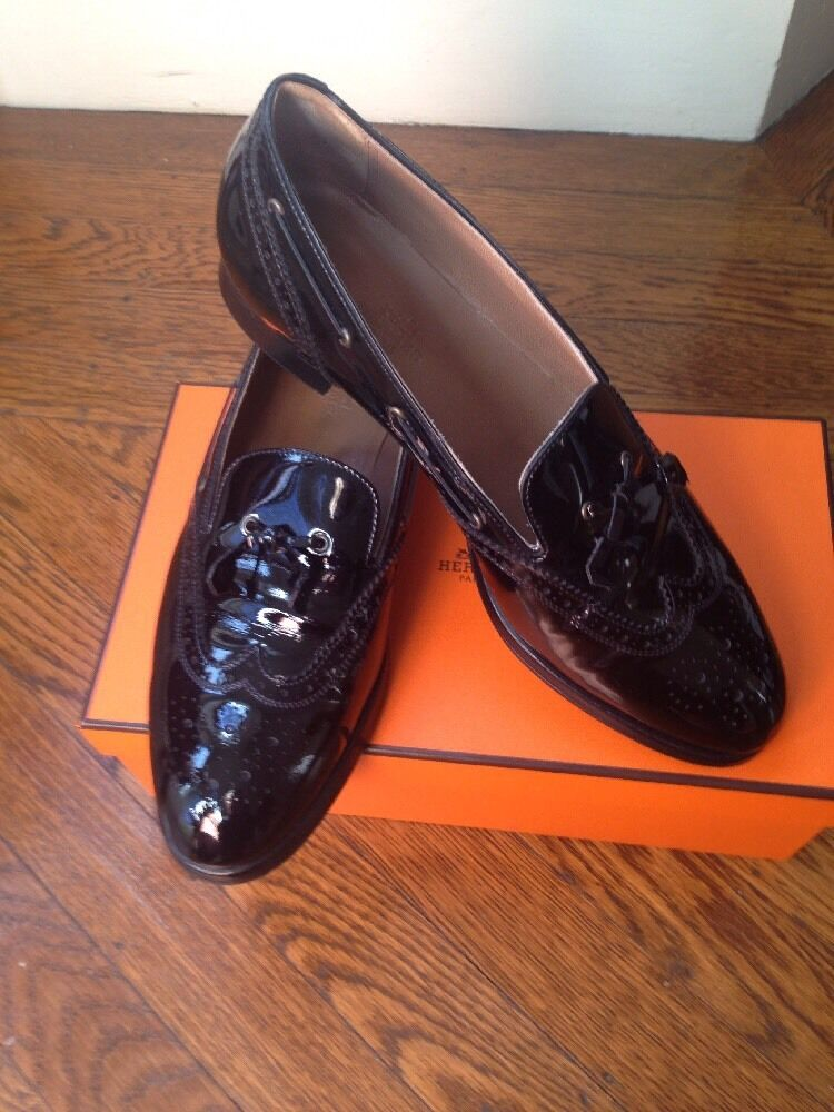 WOMEN HERMES PATENT LEATHER OXFORDS SHOES FLATS SZ 38.5