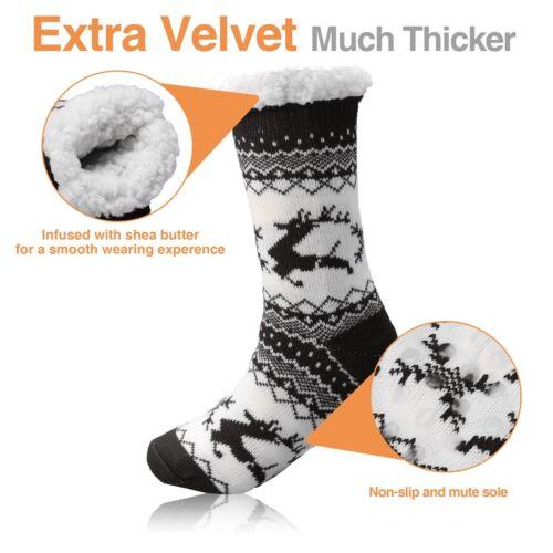 Mens Thick Sherpa Fur Lined Soft Knit Thermal Warm Winter w// Grip Slipper Socks