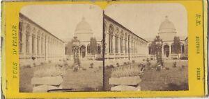 Pisa Camposanto Italia Stereo B.K.Parigi Albumina Ca 1870